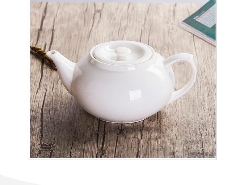 尚韵景德镇陶瓷茶壶大号家用泡茶酒店茶具凉水壶纯白骨瓷茶壶套装