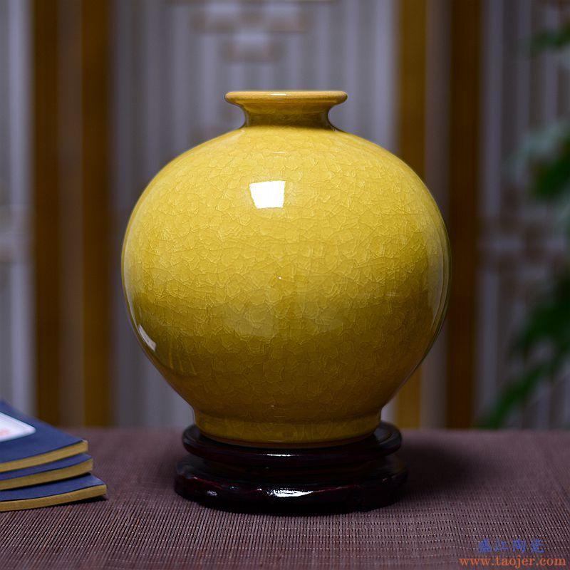 景诺景德镇陶瓷器 现代中式家居装饰客厅花瓶结婚庆摆件 中国红