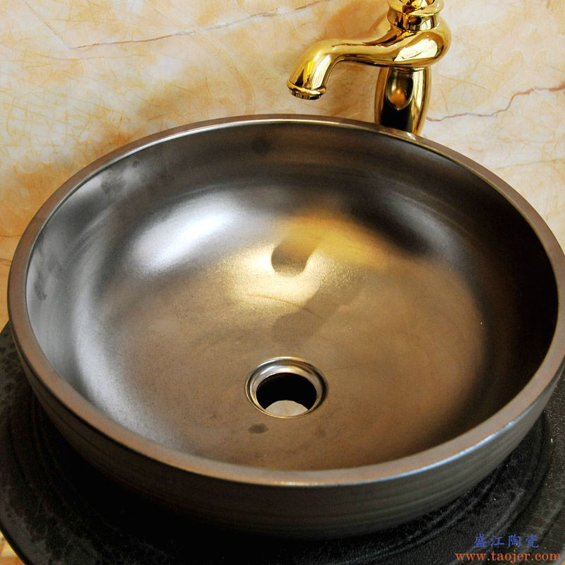 景焱工业风立柱盆一体式圆柱洗脸盆落地式复古洗手盆陶瓷柱式台盆
