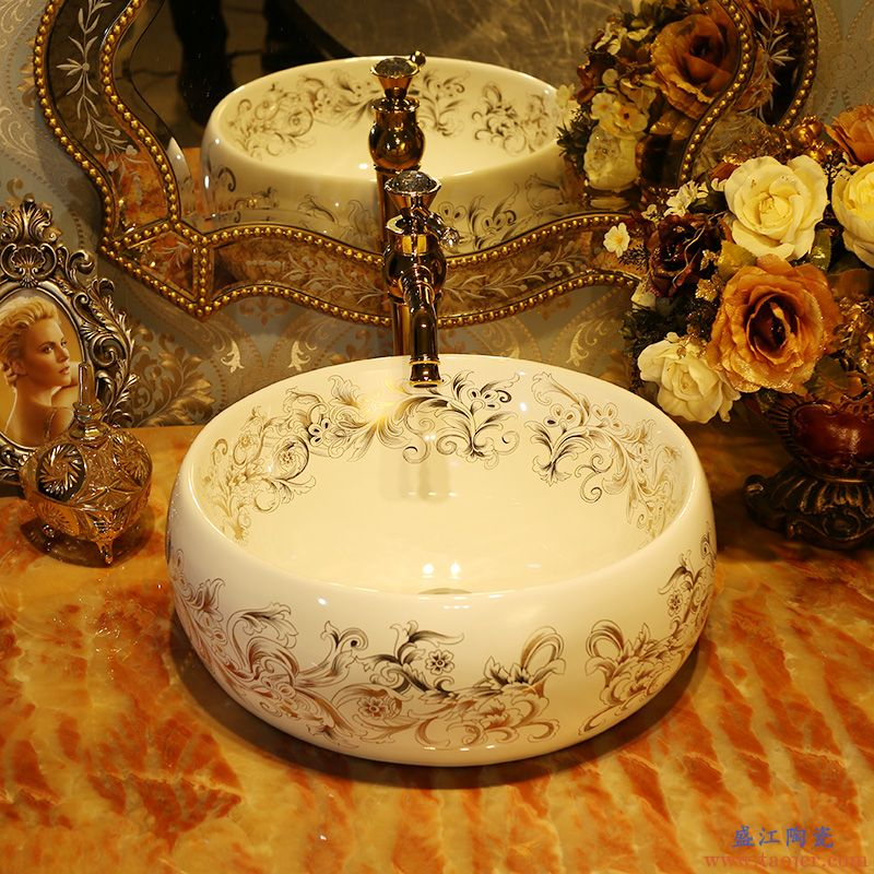 景焱皇室凤尾花艺术台上盆圆形陶瓷洗脸盆欧式台盆面盆台上洗手盆