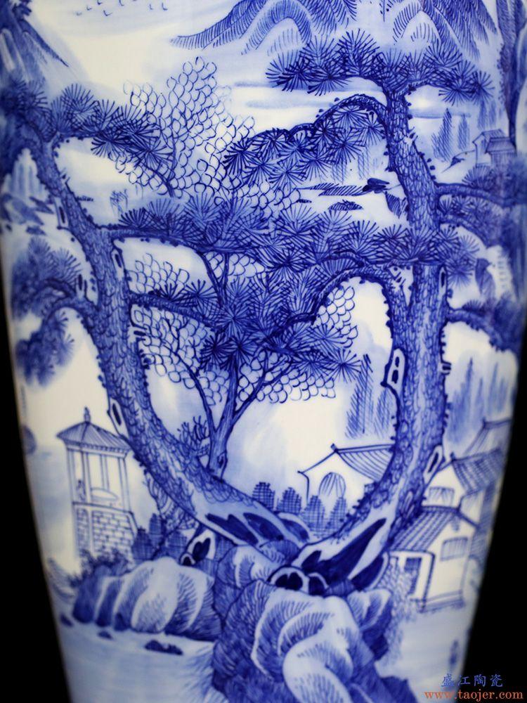 景德镇青花瓷落地花瓶家居客厅简约摆件手绘迎客松图书房装饰品