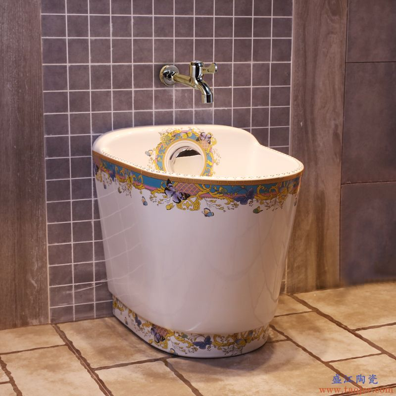 景焱欧式艺术拖把池家用阳台拖把斗大号陶瓷墩布池自动下水拖布池