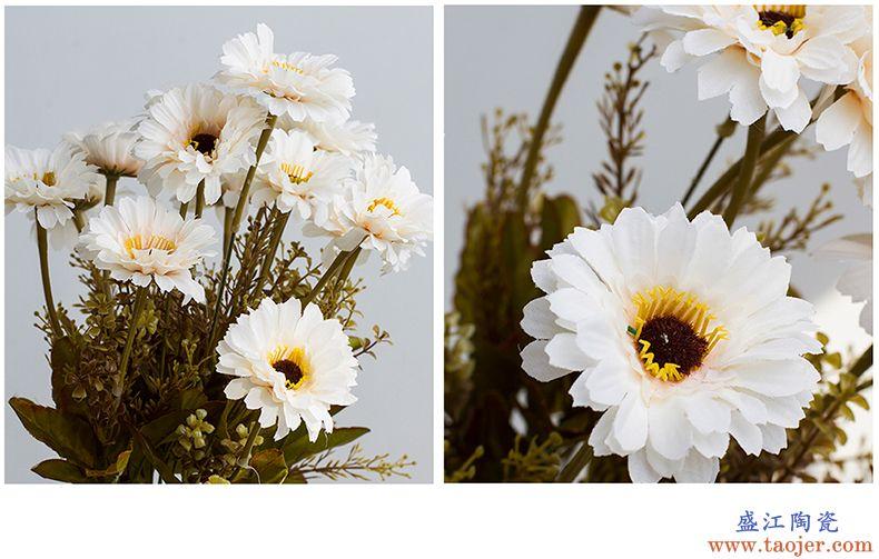 呈臣陶瓷 扶郎菊假花仿真花餐桌摆花摆设结婚花束摆放客厅装饰