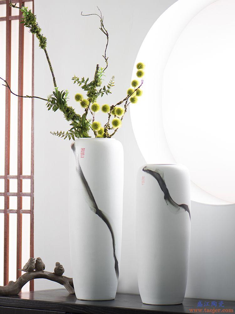 手绘落地大花瓶新中式家居装饰白色摆件客厅插花干花艺景德镇陶瓷