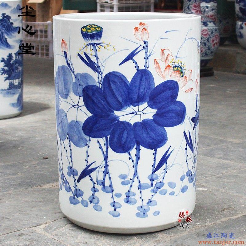 尘心堂景德镇陶瓷器花瓶大号手绘书画筒字画桶卷轴缸雨伞收纳筒书