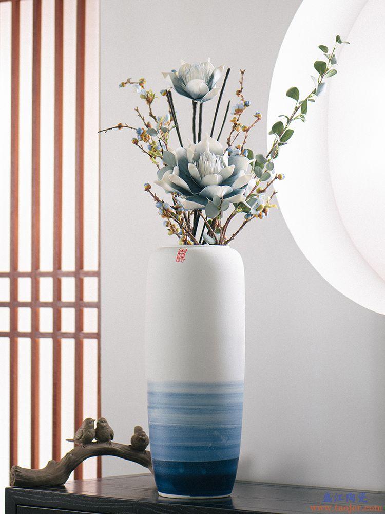 新中式落地花瓶插花客厅玄关家居装饰景德镇陶瓷干花大号花艺摆件
