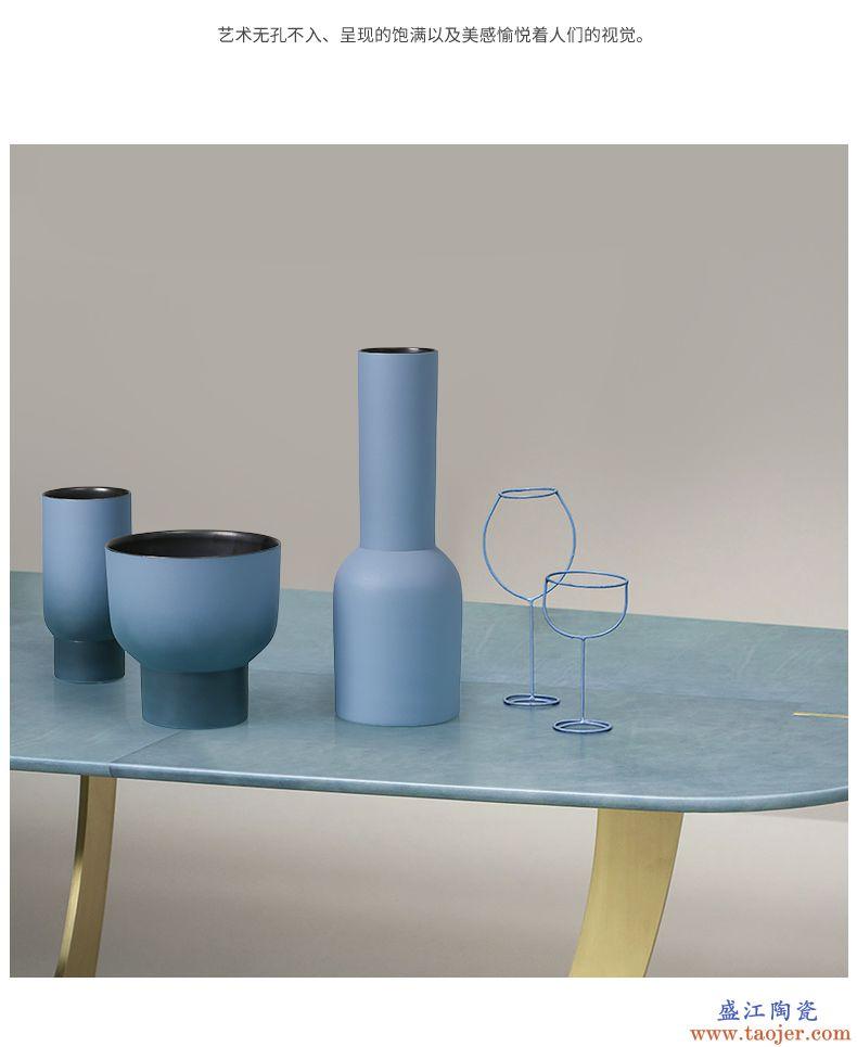 BEST WEST 几何创意陶瓷花瓶摆件现代简约样板房客厅软装饰品轻奢