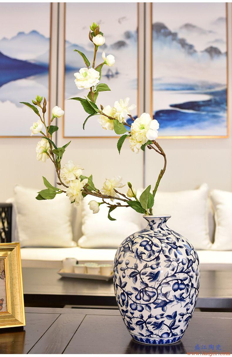 墨菲新中式青花瓷水培花瓶客厅玄关电视酒柜仿真花艺插花器摆件