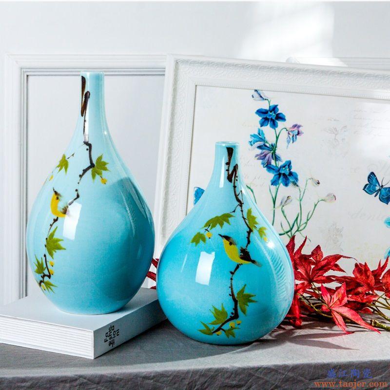 景德镇陶瓷花瓶手绘细口插干花瓷瓶客厅玄关摆件创意家居饰品摆设