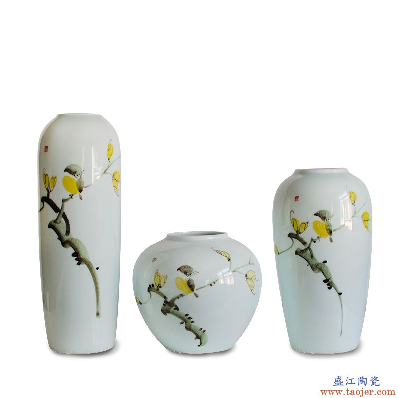 景德镇新中式陶瓷花瓶 客厅玄关插花装饰品摆件三件套工艺品瓷器