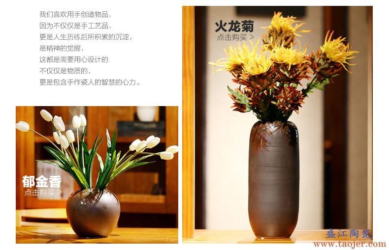 复古陶瓷花瓶 仿真花套装新中式摆件景德镇花器家居装饰欧式创意