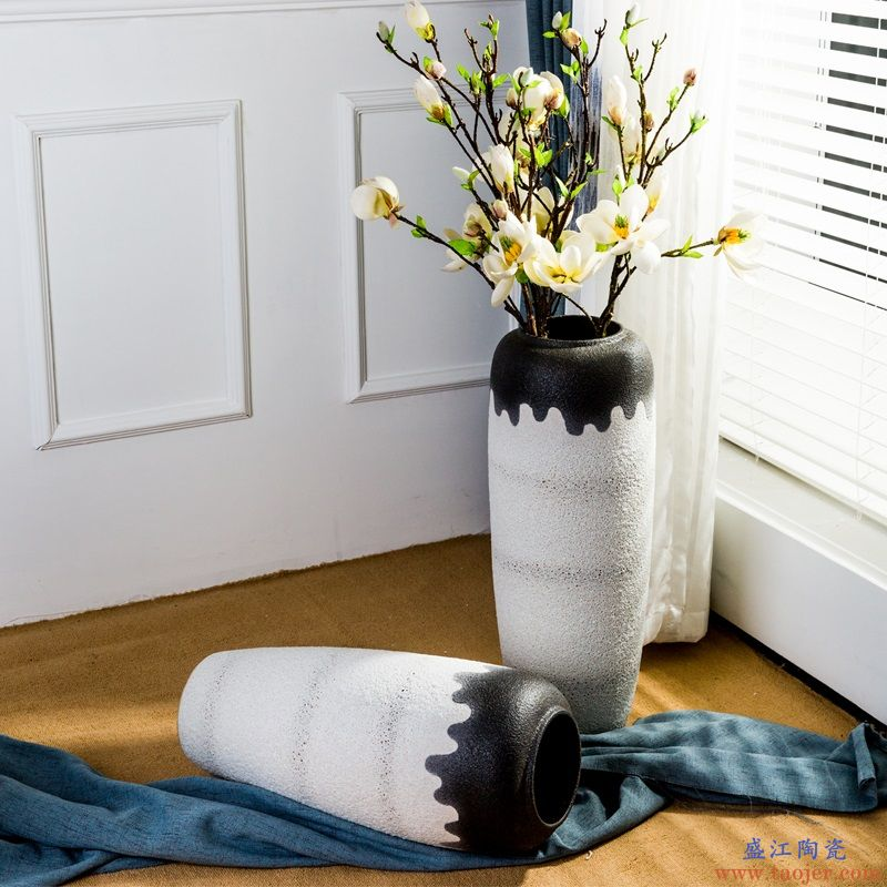 景德镇陶瓷花瓶摆件客厅家居装饰简约欧式插干花大号落地花瓶摆设