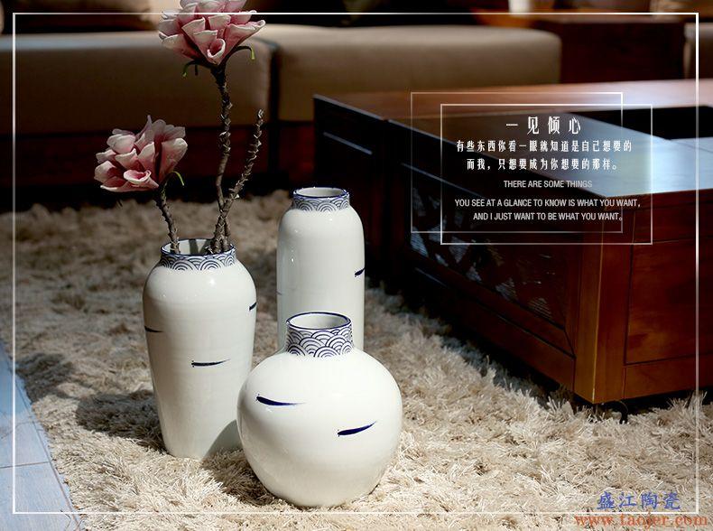 景德镇青花瓷新中式瓷瓶玄关客厅装饰品摆件干花插花白色陶瓷花瓶