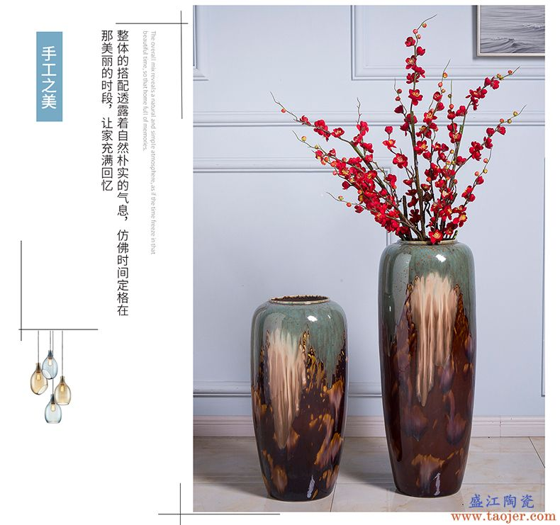 景德镇落地花瓶客厅新房公司装饰摆件欧式简约插花陶瓷大花瓶摆设