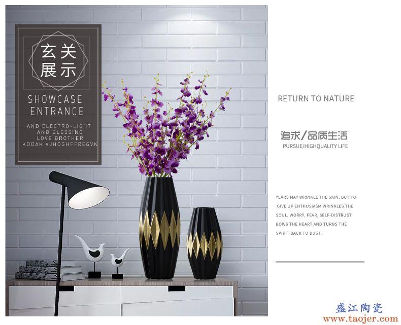 景德镇陶瓷黑色花瓶客厅家居装饰玄关摆件北欧插花瓶干花花器瓷器
