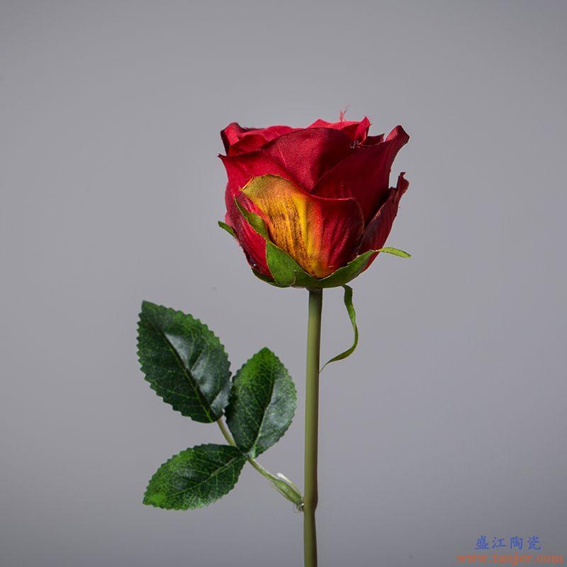 呈臣陶瓷 钻石玫仿真花客厅摆件装饰花单支9玫瑰干花假花仿真花束