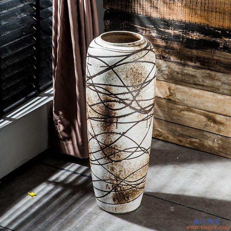 花瓶摆件客厅插花大号落地粗陶罐仿古高花瓶复古陶艺陶瓷玄关瓷器