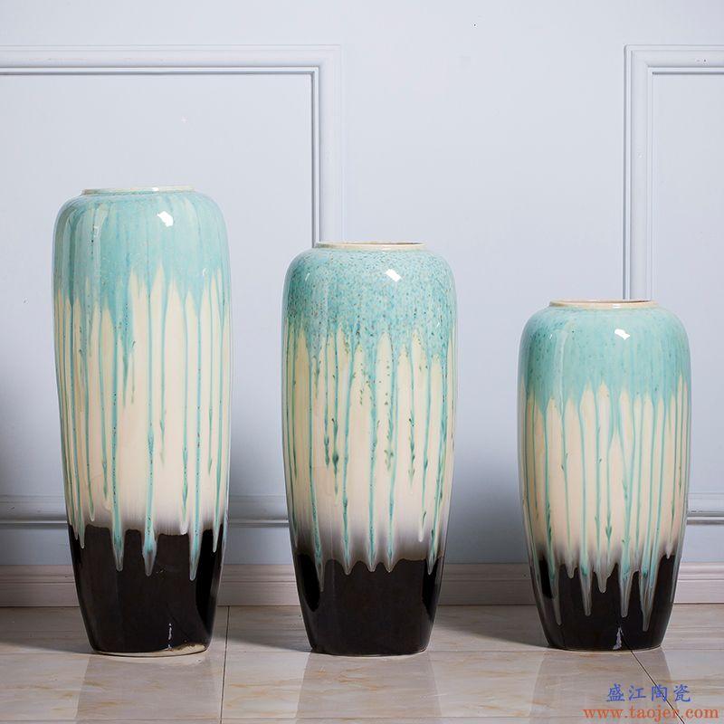 景德镇陶瓷大号落地花瓶客厅酒店玄关家居装饰摆件特大蓝色高花瓶