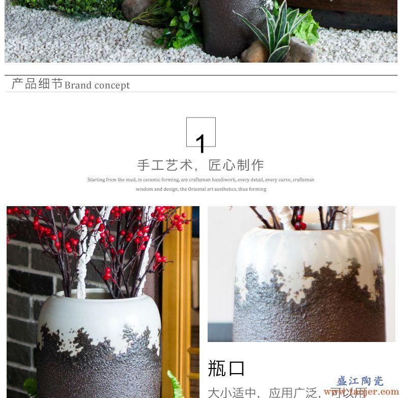 复古落地陶瓷大花瓶高干花插花客厅陶艺装饰品摆件景德镇陶罐粗陶