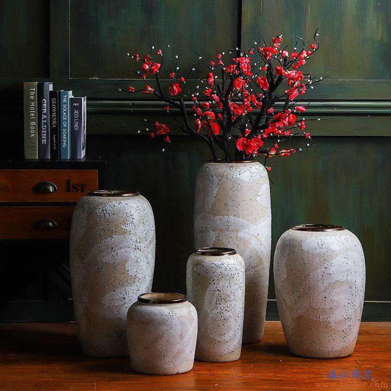 美式复古景德镇陶瓷落地大花瓶客厅摆件中式插花干花客厅玄关装饰