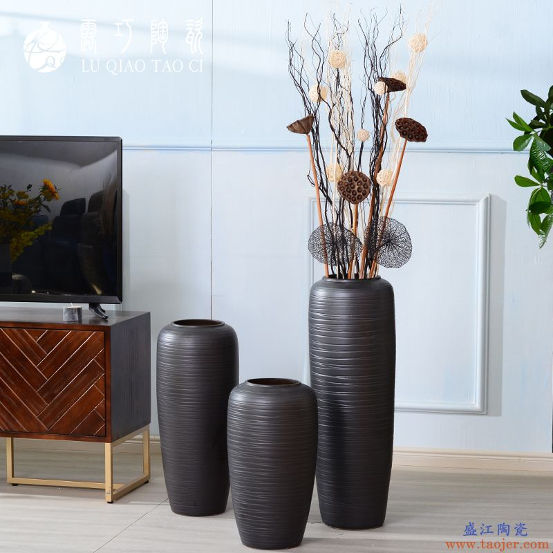 陶瓷黑色大花瓶北欧简约ins 干花装饰摆件个性创意轻奢风落地花器
