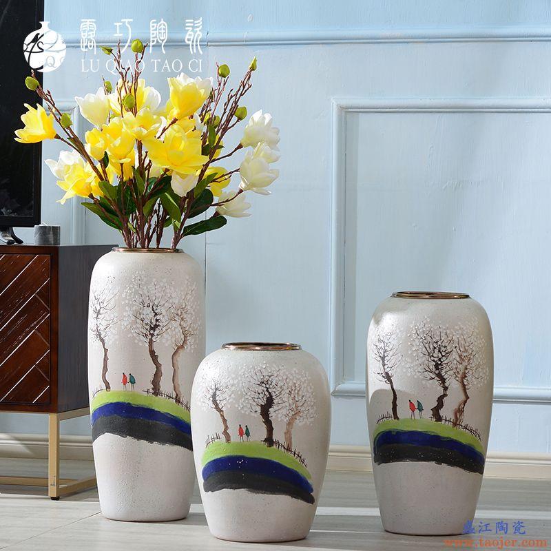手绘陶瓷花瓶文艺小清新干花装饰摆件简欧客厅电视柜插花落地瓶子
