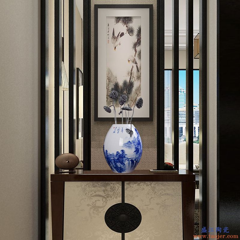 景德镇陶瓷器手绘青花缠枝莲家居客厅装饰品酒柜摆件办公室工艺品-537568408134