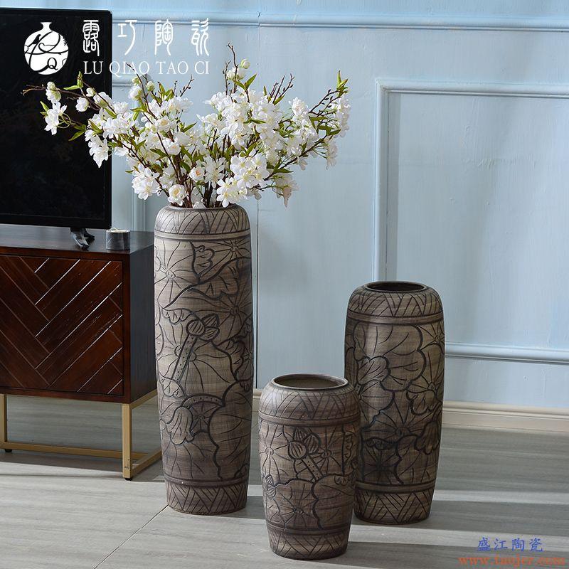 陶瓷插干花手工艺术大花瓶摆件客厅落地复古仿古电视柜仿真花摆设