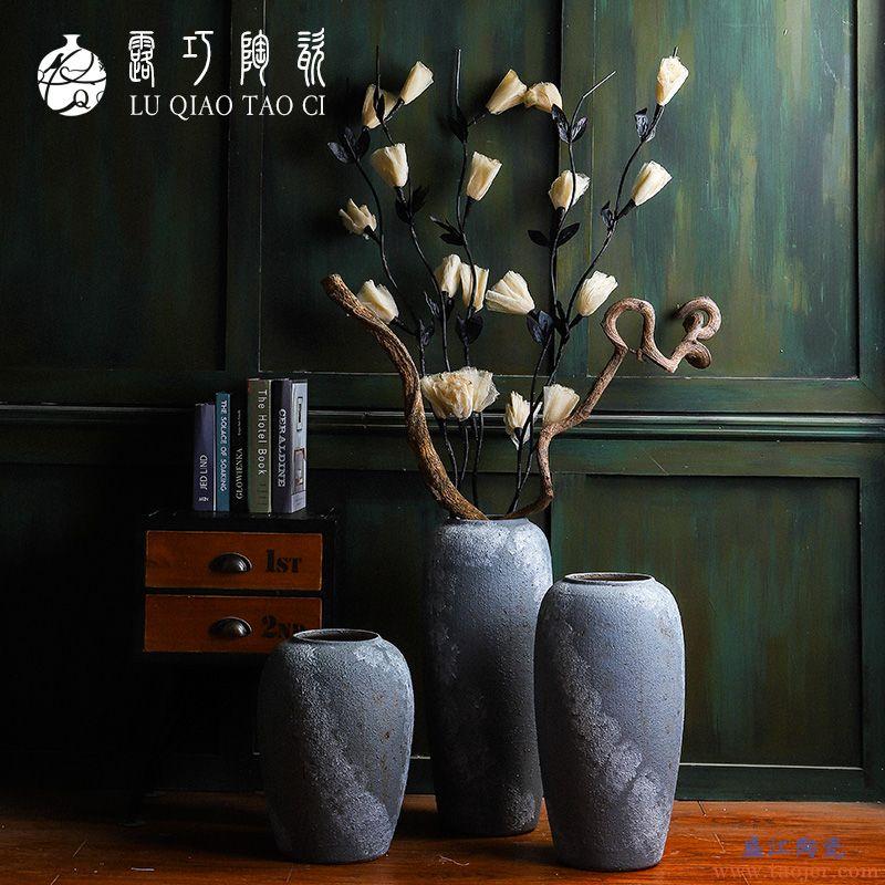 景德镇陶瓷落地粗陶花瓶 现代简约干花客厅玄关插花创意摆件复古