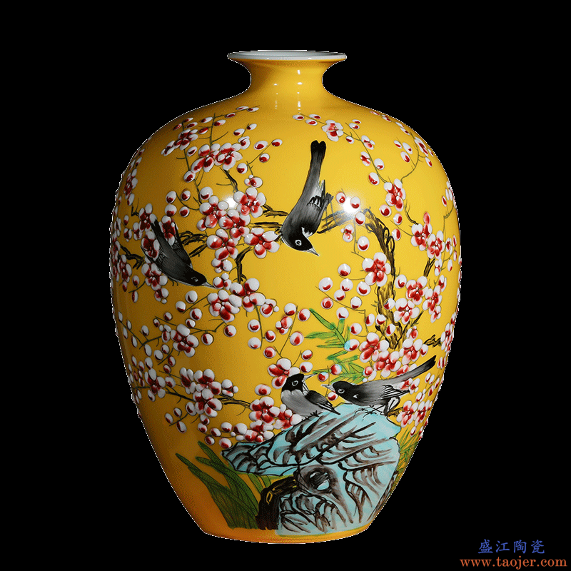 景德镇陶瓷器手绘粉彩花瓶插花器新中式客厅工艺家居饰品玄关摆件