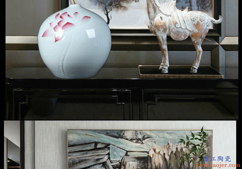 景德镇陶瓷花瓶摆件浮雕青釉荷花石榴花瓶插花花器新中式家居装饰