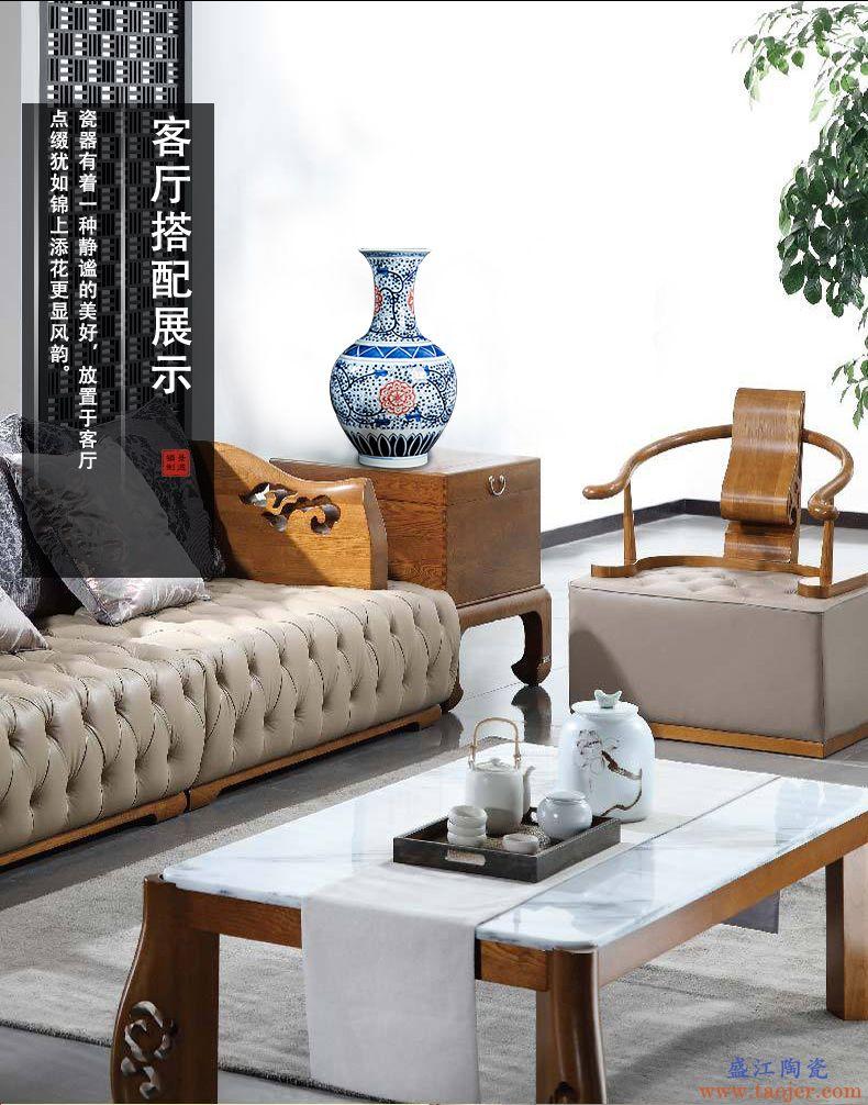 景德镇陶瓷器花瓶仿古青花大号插花器新中式家居玄关客厅饰品摆件-572761974101
