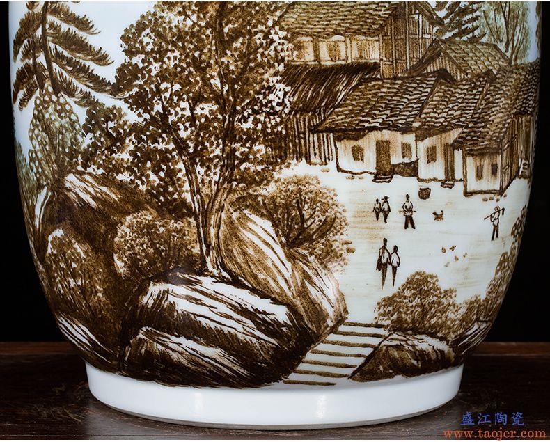 景德镇陶瓷名人大师手绘江山多娇大号花瓶家居装饰酒店别墅摆件-559193767934