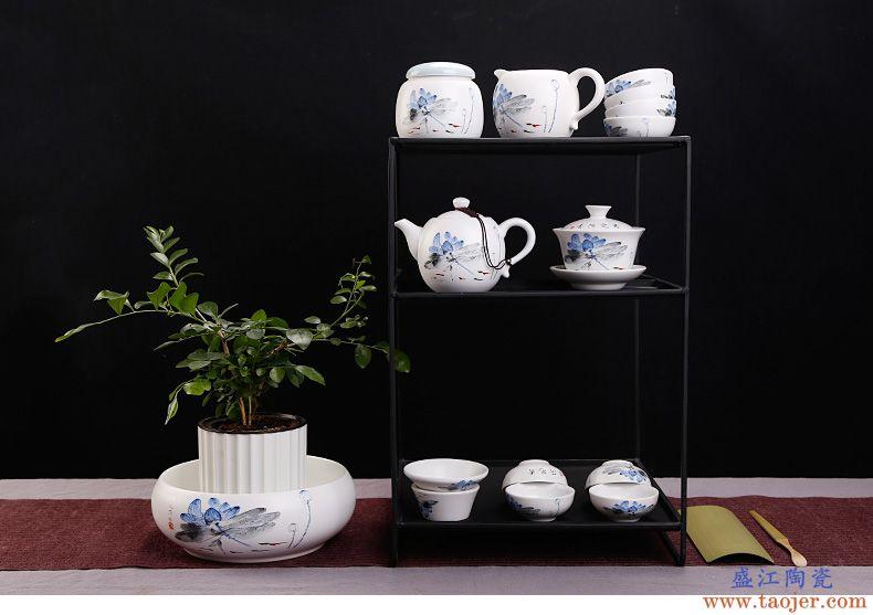 皇家雅致定窑白瓷盖碗功夫茶具大号陶瓷器三才碗亚光敬茶碗泡茶杯