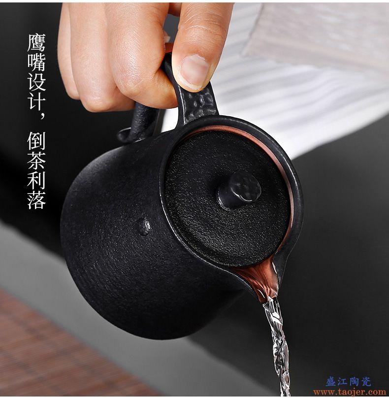 皇家雅致黑陶四方防烫粗陶创意过滤茶壶功夫茶具个性隔热小泡茶壶