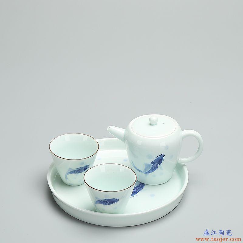 恬静生活 手绘鱼趣壶承 影青瓷功夫茶具陶瓷壶托干泡盘茶壶托