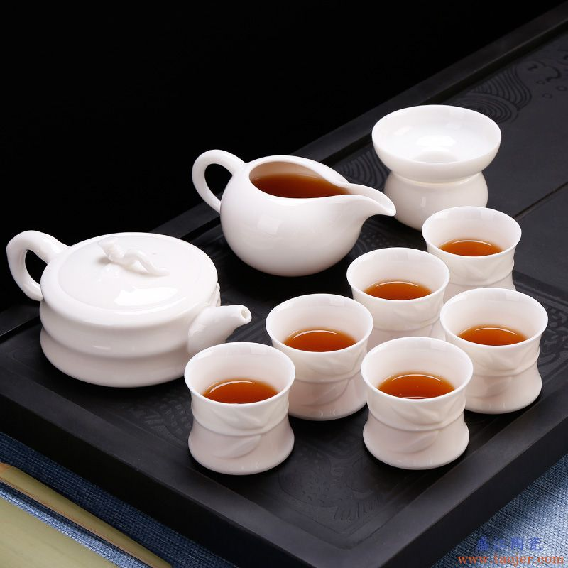 皇家雅致玉瓷功夫茶具套装德化手工白瓷整套茶壶茶杯盖碗陶瓷家用