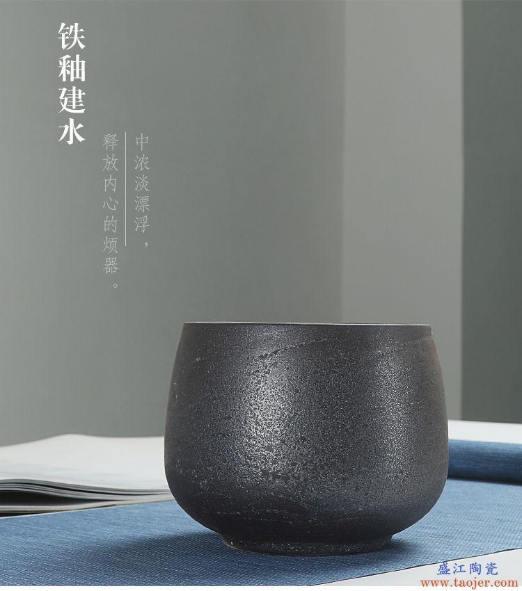 恬静生活 银斑粗陶茶渣桶 手工茶道配件茶缸杯洗建水大号功夫茶具