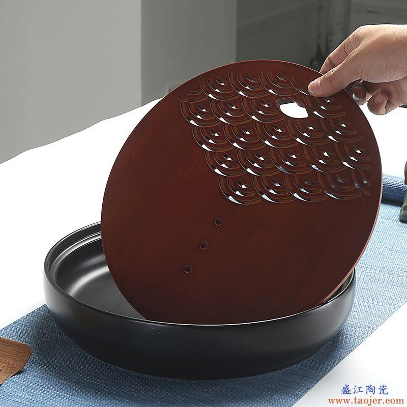 恬静生活创意碳化竹制家用茶盘储水嵌入式圆形干泡台中号复古陶瓷