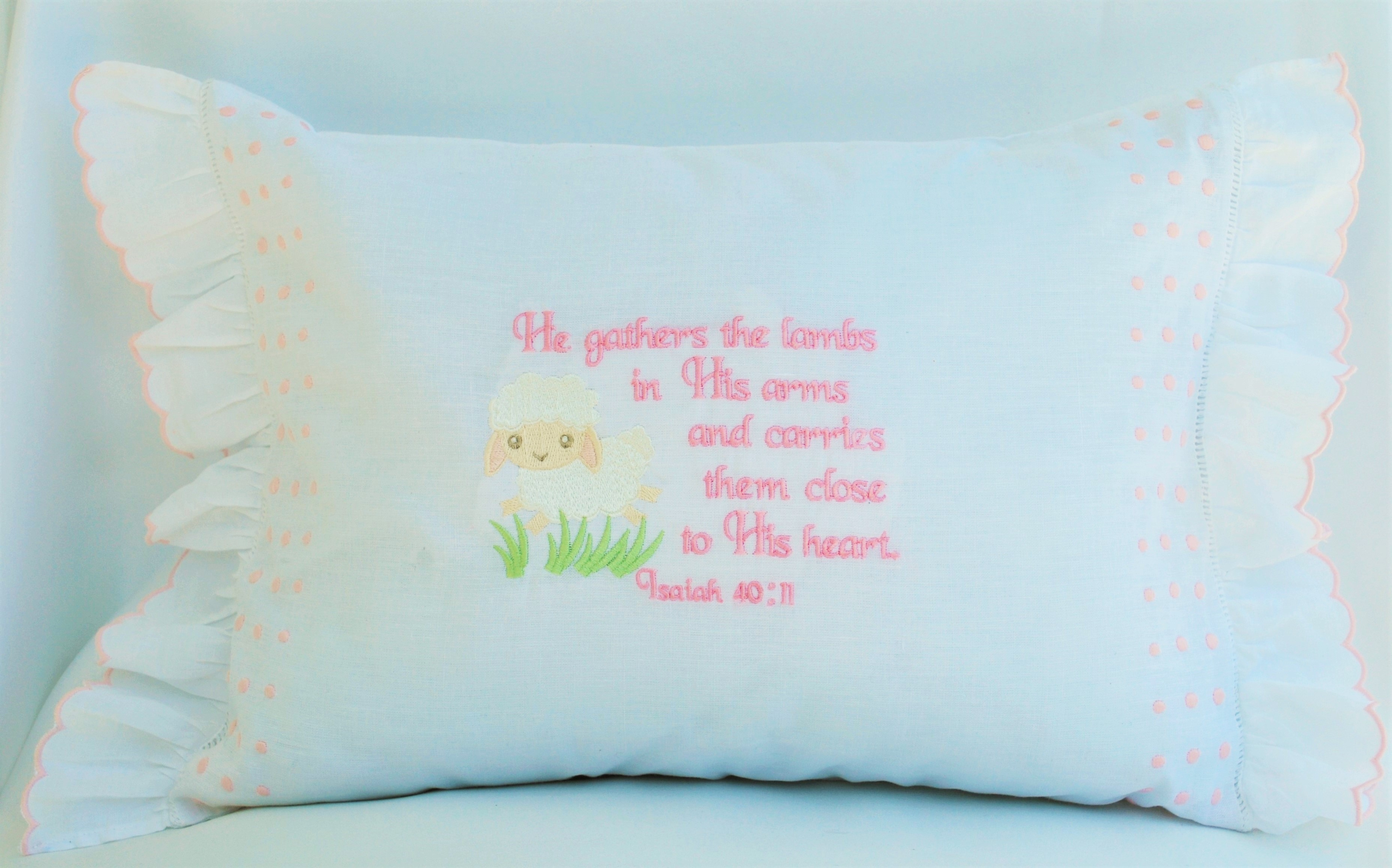 Pink Baby Pillow, He Gathers the Lambs
