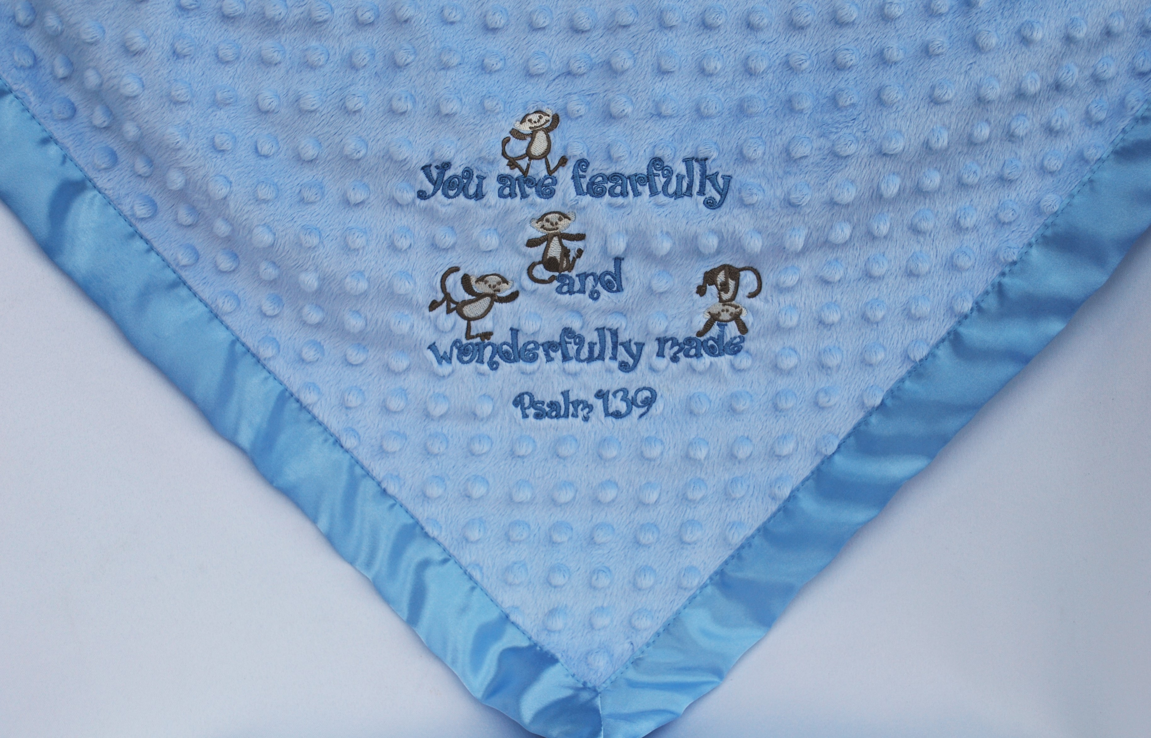 Minky Blanket, You are fearfully and wonderfully made, Monkeys