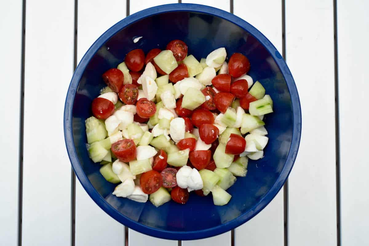 Cucumber Caprese Salad in bowl