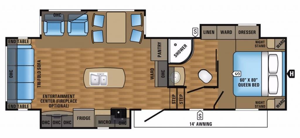 rear living floor plan fifth wheel rv
