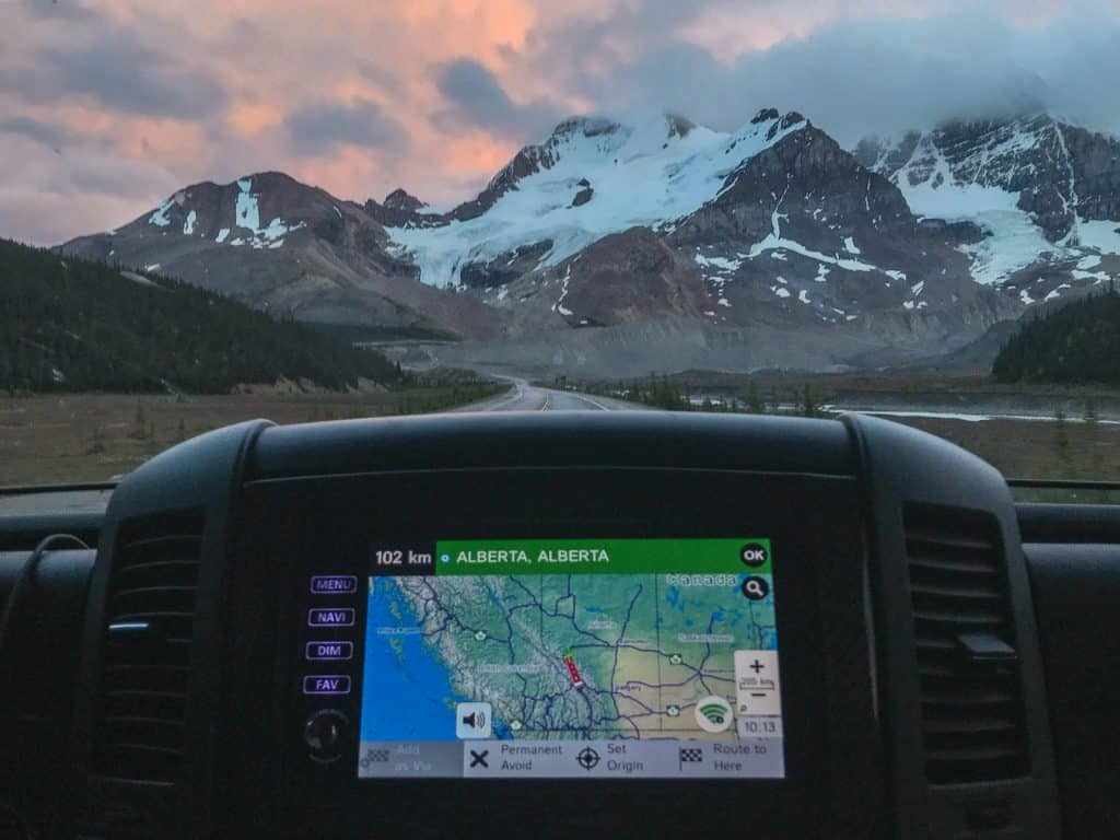 RV GPS with mountain views