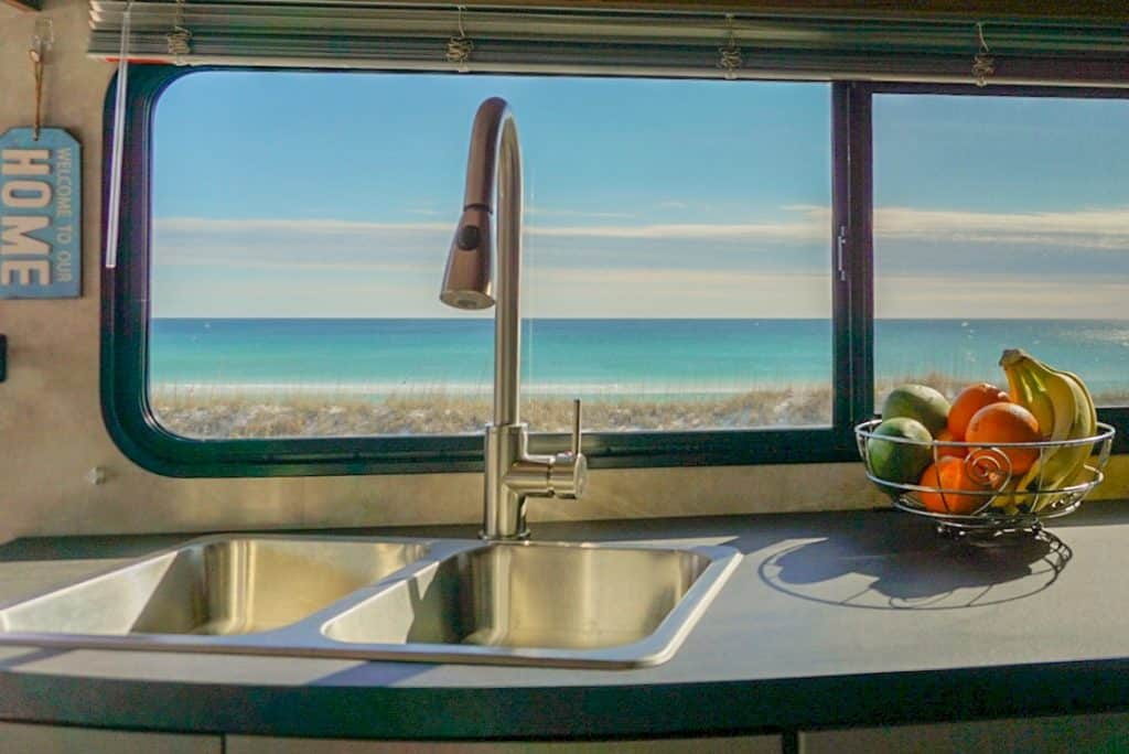 RV kitchen with ocean view
