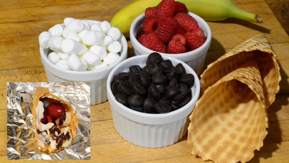 marshmallows fruit and waffle cone sweets