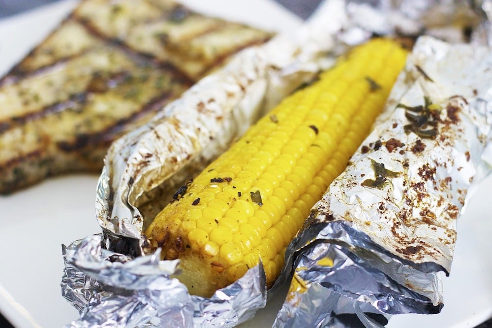 Corn on the cob wrapped in tin foil