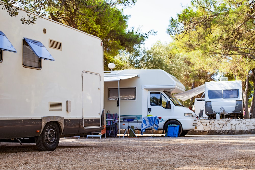 RVs parked at a campground