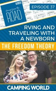 Josh and Kali have been living the RV life since January of 2015. Three and a half years later they have welcomed their first child, Landyn, into their lives. The RV lifestyle for them has allowed them to see amazing sites and helped them reach their goal of putting family first. Tune in for tips on traveling with a newborn! #rvlife #rvcampers #rvhack #rvliving #camper #camping #camperlife #happycamper #fulltimerving #fulltimervlife #storiesfromtheroad #digitalnomad #familycamping