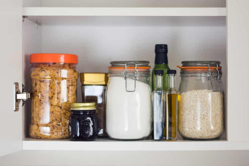 food cupboard, pantry with jars